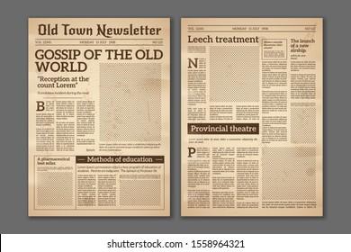Vintage newspaper. News articles newsprint magazine old design. Brochure newspaper pages with headline. Paper retro journal grunge template