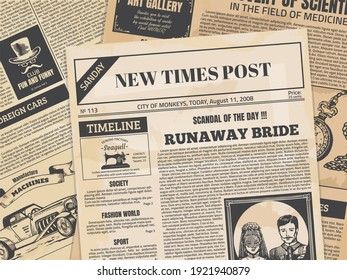 Vintage newspaper. Retro newsprint backdrop or magazine page with grunge texture and old headers.  editorial ancient paper news printing template for vintage design cafe and creative background