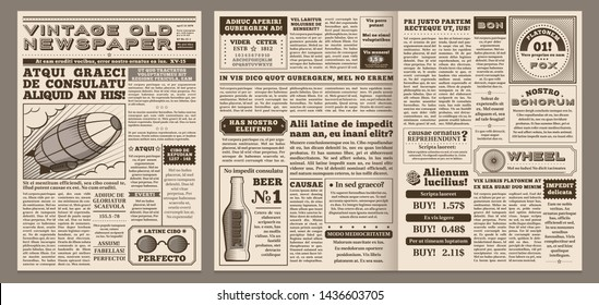 Vintage newspaper template. Retro newspapers page, old news headline and journal pages grid. Antique newsprint poster, newspaper brochure template  illustration layout