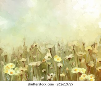 Vintage oil painting daisy-chamomile flowers field at sunrise.Flower oil painting background