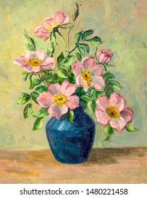 Vintage oil painting of flowers in vase.