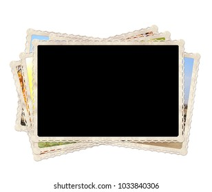 Vintage old photos. Isolated on white background. Mock up template. Copy space for text