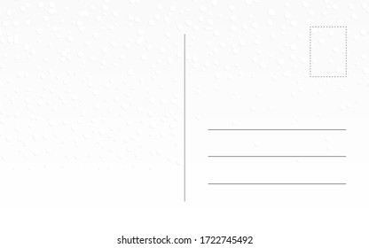 Vintage old postcard design with snow. Greeting card back template for winter holidays