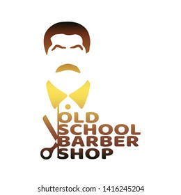 Vintage old school barber shop emblem or label. Mustache man icon with scissors and text.