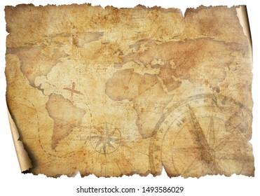 Vintage old travel world map isolated on white. Based on image furnished from NASA.