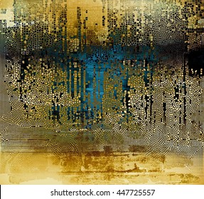 Vintage old-style texture, worn and rough grunge background with different color patterns: yellow (beige); brown; blue; black