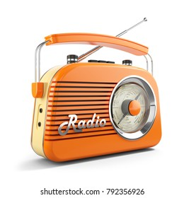 Vintage orange FM portable radio. Object isolated on white background 3d