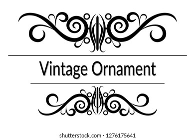 Vintage Ornament, Decorative Frame with Abstract Floral Pattern, Black Contours Isolated on White Background.