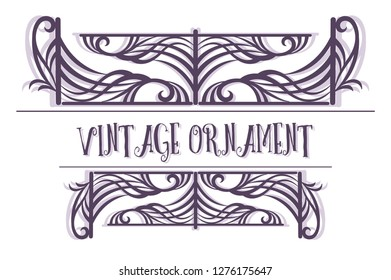 Vintage Ornament, Decorative Frame with Abstract Pattern, Black and Grey Contours Isolated on White Background.