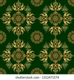 Vintage ornament. Green and golden pattern for your designs and backgrounds. Modern geometric seamless pattern for wrapping paper, fabric or textile.