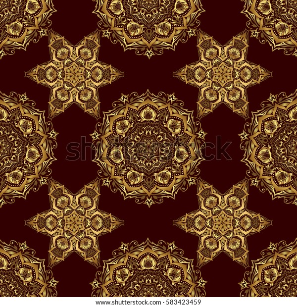 Vintage ornament. Simple seamless pattern - gold stars on a brown background.