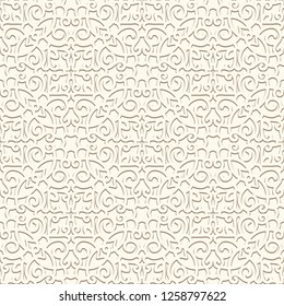Vintage ornamental background, swirly seamless pattern in neutral color