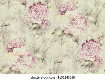 Vintage ornamental roses  and leaves seamless pattern on texture background