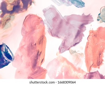 Vintage Paint Pattern Grunge. Brush Paint Strokes. Taupe Water Glitter. Abstract Brush Strokes. Rose Shape Silk Fabric India. Pink Paint-Waves.