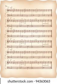 Vintage paper with handmade musical notes. Raster version.