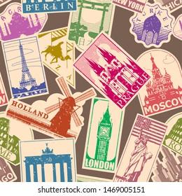 Vintage paper landmarks travel labels seamless pattern. Stickers of travel: Prague, Holland, Giza, Turkey, Japan.