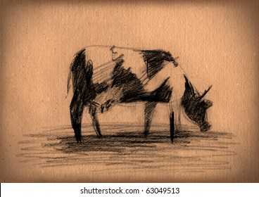 vintage paper with a sketch of cow
