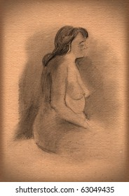 vintage paper with a sketch of nudity