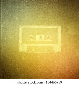 vintage paper texture, art music background, magnetic tape, audio cartridge,
