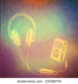 vintage paper texture, art music background, headphones and mp3 player