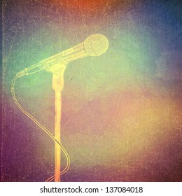 vintage paper texture, art music background, microphone
