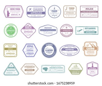 Vintage passport stamp. Airport cachet mark, passport visa international arrived stamps. USA, UK, France, Italy, Japan and Spain air boarder stamp frames  isolated set. Travel airport signs