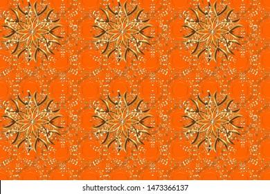 Vintage pattern. Decorative Indian Round Mandala on orange and brown colors. Colored over orange and brown. Christmas Card Mandala Design. Islam, Arabic, Indian, Turkish, Pakistan. Scrapbooking.