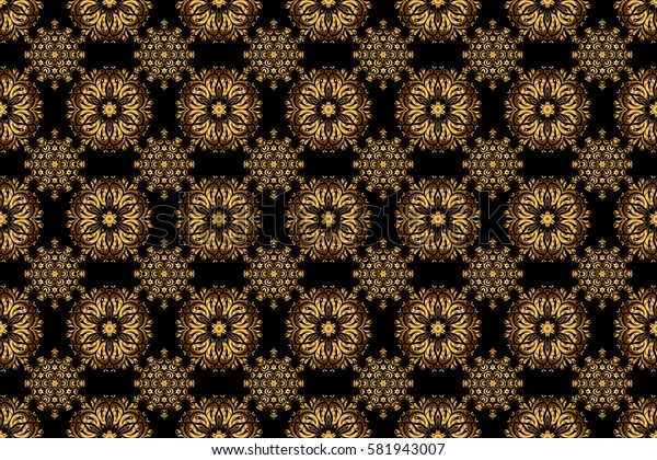 Vintage pattern on black background. Seamless pattern with golden elements for design in retro style. Universal raster pattern for wallpapers, textile, fabric, wrapping paper, packaging box etc.