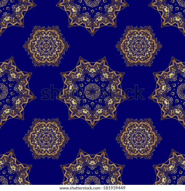 Vintage pattern on blue background. Seamless pattern with golden elements for design in retro style. Universal pattern for wallpapers, textile, fabric, wrapping paper, packaging box etc.