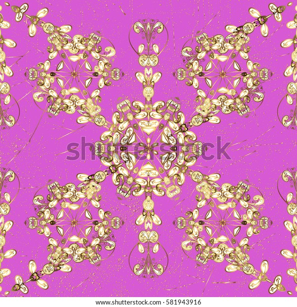 Vintage pattern on pink background with golden elements. Christmas, snowflake, new year.