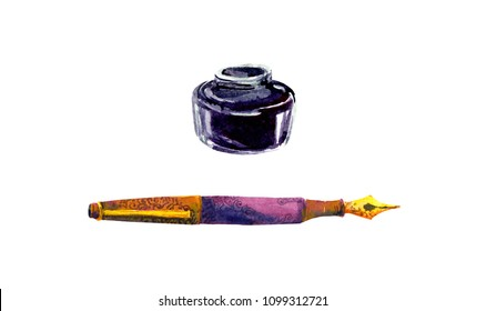 Vintage pen, ink bottle. Watercolor