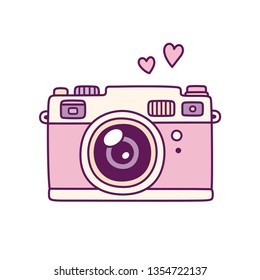 Vintage photo camera, cute pink doodle style drawing with hearts. Retro style film camera illustration.