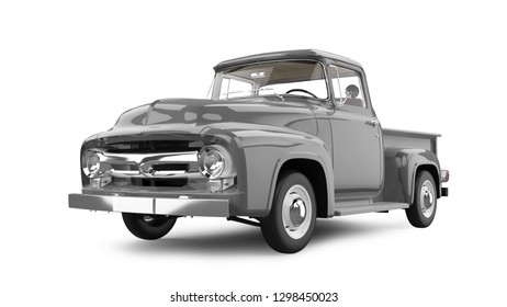 Vintage Pick-up Truck 3D Rendering Isolated on White