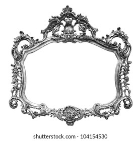 Vintage picture frame over white background , clipping path