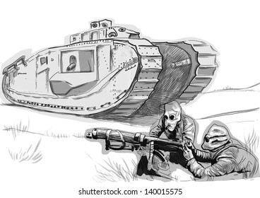 Vintage picture from the series: World between 1905-1949 /// Soldiers in the trenches in gas masks with heavy machine gun before a large tank /// Full sized hand drawing (black and white)
