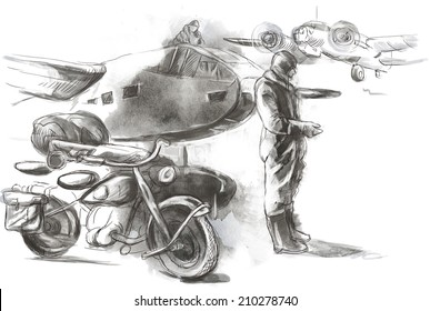 Vintage picture from the series: World between 1905-1949. At the airport - a soldier on a motorcycle between aircraft. An hand drawn full sized illustration.