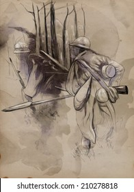 Vintage picture from the series: World between 1905-1949. Soldier with a rifle in the woods. An hand drawn and colored full sized illustration.