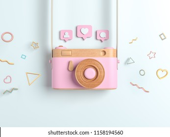 Vintage Pink wooden photo camera with Pin heart, friends, comment, post. Overhead view of Traveler's accessories, Flat lay photography of Travel concept. white isolated background. 3d render