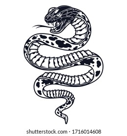 Vintage poisonous snake template in monochrome style isolated illustration