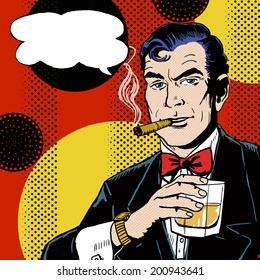 Vintage Pop Art Man with glass of whiskey smoking cigar. Comic male with speech bubble.
