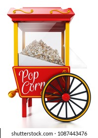 Vintage popcorn cart isolated on white background. 3D illustration.