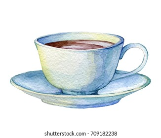 Vintage porcelain cup. Hand drawn watercolor illustration for greeting cards, invitations, logos, and printed materials.