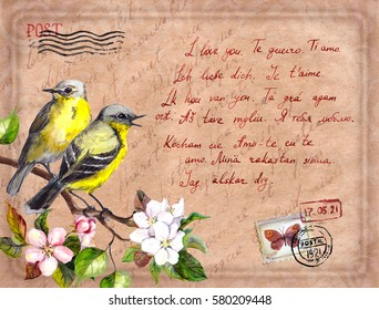 "Vintage post card with bird in blossom flowers, postal stamps, seals and text ""I love you"". Watercolor"
