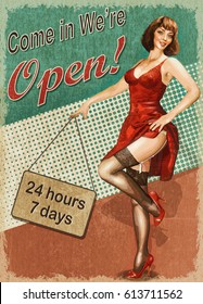 Vintage poster - Come in we're open.