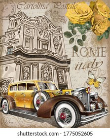Vintage poster with retro car on antique building background.