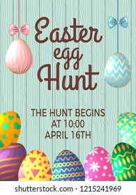 Vintage poster template with place for your text and illustrations of easter eggs. banner easter egg hunt event