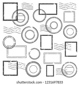Vintage postmark cachet, postal watermark, post stamp mark icon and simple gray retro travel stamps for grunge post envelope package isolated  label symbol clipart set