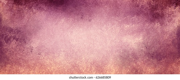 vintage purple and pink background on faded beige paper with grunge textured borders with peeling paint