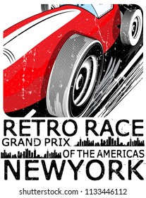 vintage race car for printing old school race poster.retro race car set