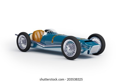 Vintage racing car of fifties, blue color on a white background